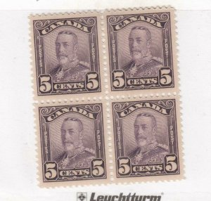 CANADA (MK4309) # 153  VF-2MNH/2LH  5cts  KGV SCROLL ISSUE /BLOCK OF 4 CAT $150