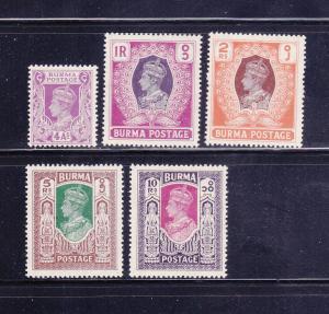 Burma 60, 62-65 MH King George VI