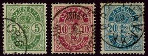 Denmark SC#38-40 Used Fine hr...Bid on a Bargain!!