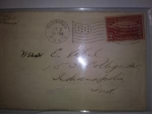 SCOTT # 372 POSTAL HISTORY TWO CENT HUDSON FULTON WITH FLAG CANCEL 1909 !!