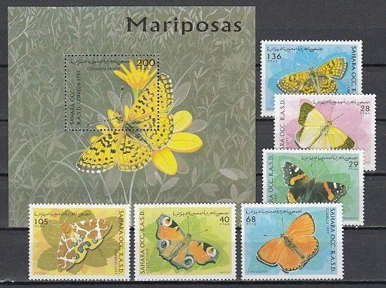 Sahara, 1997 Cinderella issue. Butterfly set & s/sheet.