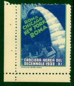 ITALY 1933 MASS FORMATION FLIGHT Label Rome Chicago NY Rome
