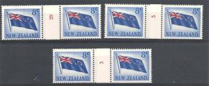 NEW ZEALAND 1967 8c Flag, 3 coil join pairs Nos 3,5 & 29 MNH..............S6726