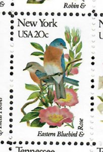 1984 New York Birds and Flowers MNH single  perf 10.5 x 11.25
