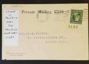 1910 Montevideo Uruguay Hamburg Boston MA USA Cruise Perfin RPPC Postcard Cover