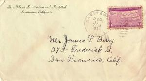 United States California Sanitarium 1939 duplex  1901-1968  Green Corner card...