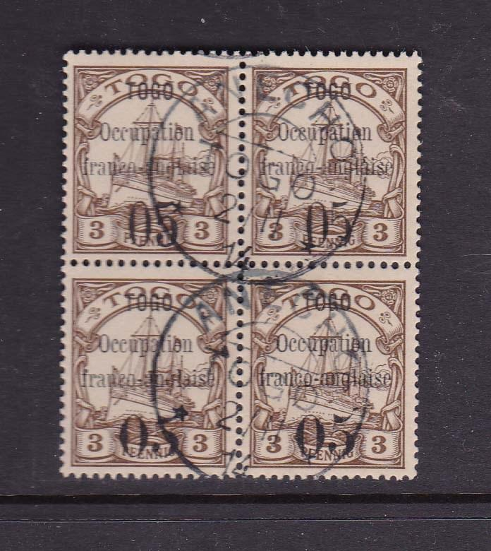 Togo 1914 Sc 151 (top 2 stamps) and 152 ( bottom 2 stamps) CTO - Scarce