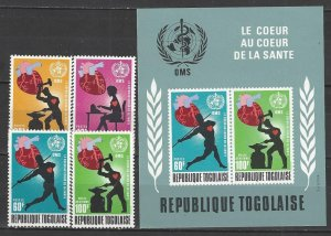 Togo  808-10, C175-5a  MNH  WHO  Heart Health 1972