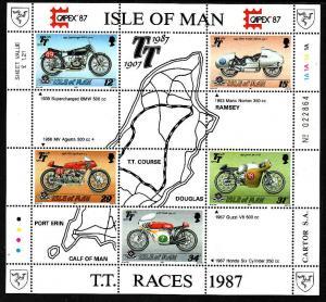 Isle of Man-SC#339a-sheet of 5-unused-NH-Motorcycles-racing-