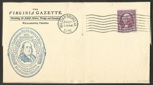 1932 US COVER,WASHINGTON 3C STAMP.NATIONAL POST OFFICE DAY.THE VIRGINIA GAZETTE