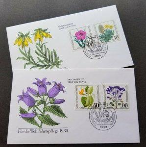 Germany Endangered Wild Herbs 1980 Flower Flora Plant (FDC pair)