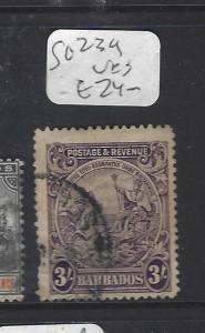 BARBADOS   (PP1910B)   SEAHORSE 3/-     SG 239   VFU