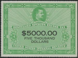 #RX45 1952 $5,000 DISTILLED SPIRITS EXCISE TAX UNUSED W/ PSE CERT - XF - HV9584