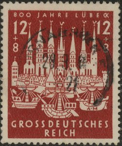 Stamp Germany Mi 862 Sc B249 1943 WWII 3rd Reich Lubeck City Adolf Berlin Used