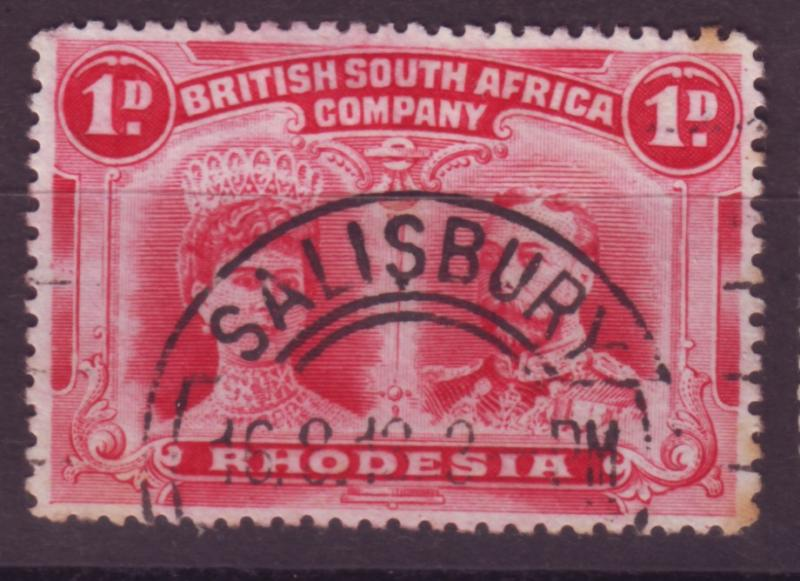 J17087 JLstamps 1910 rhodesia used #102 king and queen