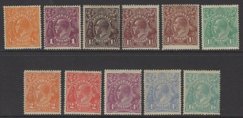 AUSTRALIA SG56/66 1918 DEFINITIVE SET MTD MINT