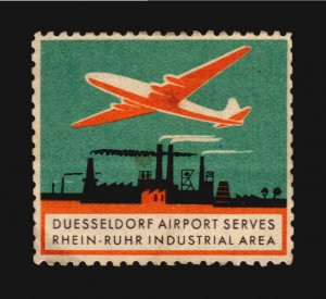 Duesseldorf airport Cinderella c1950 Poster stamp Germany plane industry nuclear