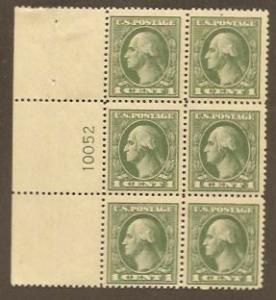 536 Unused Plate Block, Gray-Green, SCV $250