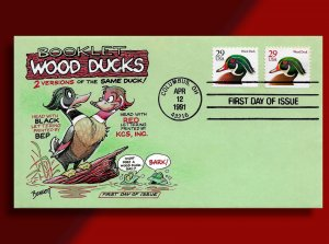 From the Cachetoons Vault - Two-Headed Wood Duck from 1991 on Green Envelope!