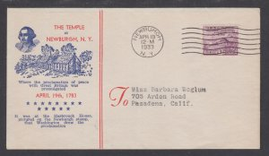 US Planty 727-10a FDC. 1933c  Peace, FIRST National Temple Hill cachet, clean