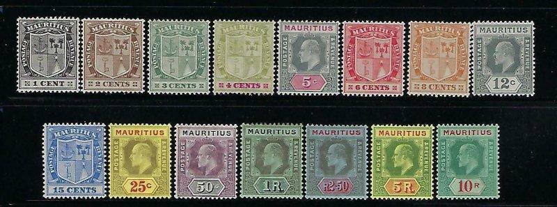 MAURITIUS SCOTT #137-151 1910 EDWARD VII- WMK 3- MINT XXXLIGHT HINGED