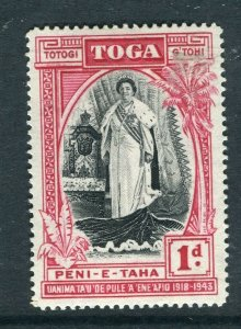 TONGA; 1944 early Queen Salote Silver Jubilee issue Mint hinged 1d. value