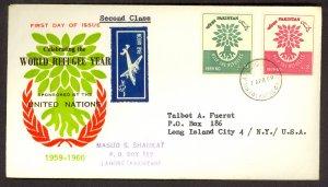 PAKISTAN 1960 WORLD REFUGEE YEAR SET on Cachet FDC Sc 112-113