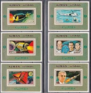 Ajman, Mi cat. 862-867 C. Apollo 15, Space issue as Deluxe s/sheets. ^