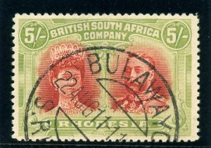 Rhodesia 1910 KGV Double Head 5s scarlet & pale yellow-green VFU. SG 160.