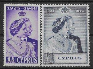 CYPRUS SG166/7 1948 ROYAL SILVER WEDDING SET MTD MINT
