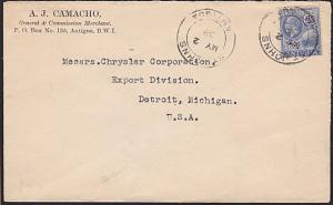 ANTIGUA 1938 cover to USA - GV 2½d - St Johns cds...........................6586