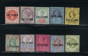 ZULULAND SCOTT #1-10 1888-93 OVERPRINTS  - MINT HINGED/LH (9D-1SH USED)