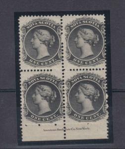 NOVA SCOTIA (KSG49) # 8a VF-MNH 1cts QV/BLOCK OF 4/WHITE PAPER/1860-63 CAT $160