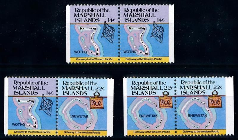 [68434] Marshall Islands 1985 Definitives Maps Islands 3 Pairs from Booklet MNH