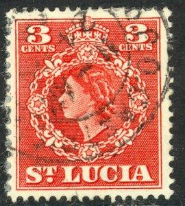 ST LUCIA 1953-54 QE2 3c Portrait Issue Sc 159 VFU
