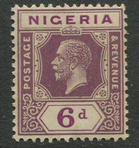 Nigeria -Scott 28 - KGV Definitive -1921 - MLH - Single 6p Stamp