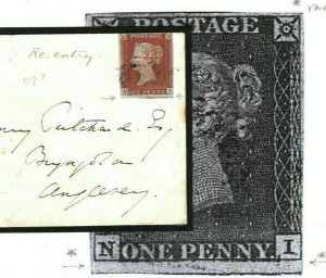 GB WALES Bangor Anglesey 1d Red Imperf 1850 {samwells-covers} V87