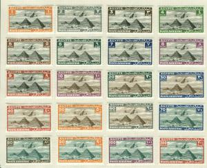 Egypt Scott #C5  - #C6  and #C8 - #C25 Set of 25 Mint Mounted byt Hinges on Page