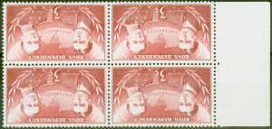 Ross Dependency 1967 3c Carmine-Red SG6w Wmk Inverted V.F MNH Block of 4