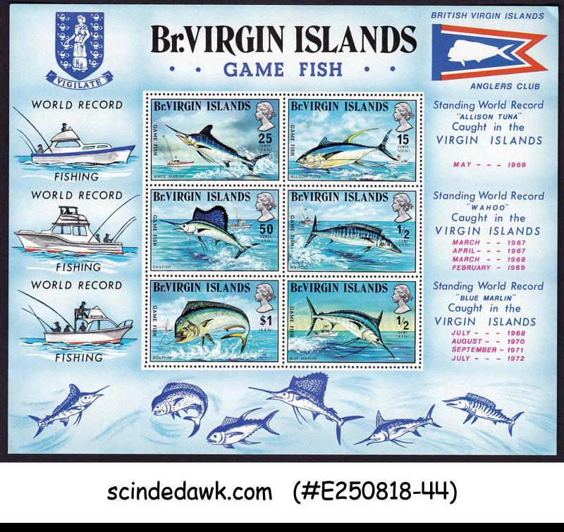 BRITISH VIRGIN ISLANDS - 1972 GAME FISH / ANGLERS CLUB / FISHING MIN/SHT MNH