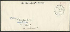 NEW ZEALAND 1940 OHMS cover, 1d meter, TRENTHAM MILITARY CAMP cds..........58608