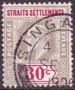 MALAYA STRAITS SETTLEMENTS 1905 KEDV11 30 Cents Grey & Carmine SG134 Used