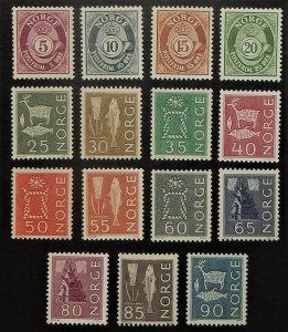Norway 416-30. 1962-63 5o-90o Definitives, NH