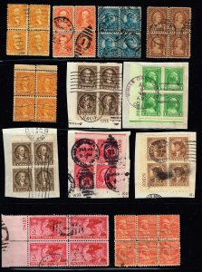 US STAMP  Used BLK OF 4 STAMP COLLECTION LOT