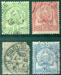 Tunisia Sc# 12-19 Used Assorted (15c corner missing) 1888-1901 Coat of Arms