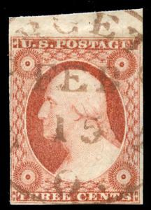 momen: US Stamps #11A Used BROWN Cancel TOP Margin VF