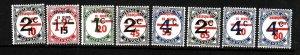 Guyana-Sc#341a-9a-unused NH set-postage dues overprinted-1981