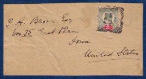 Great Britain,Sc 130  Edward VII addressed F.A. BROWN ESQ.Postal Cover Iowa USA