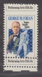 US Sc 1756 MNH. 1978 15c George M. Cohan, MISPERF with Double Perfs, ERROR
