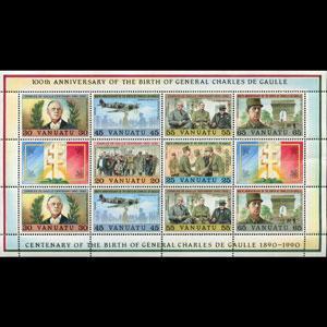 VANUATU 1990 - Scott# 530 Sheet-De Gaulle NH